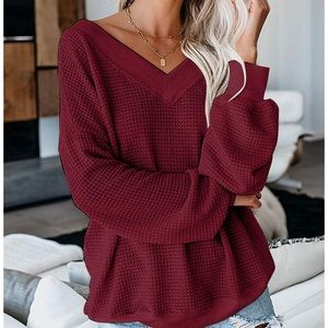 Sweaters - Off Shoulder Batwing Sleeve Knit Top